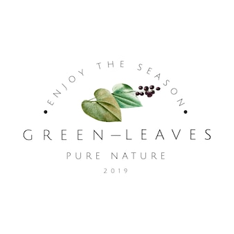 Green leaves logo design vector