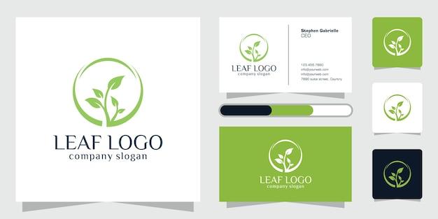 緑の葉のロゴ植物自然エコガーデン様式化されたアイコン植物と名刺