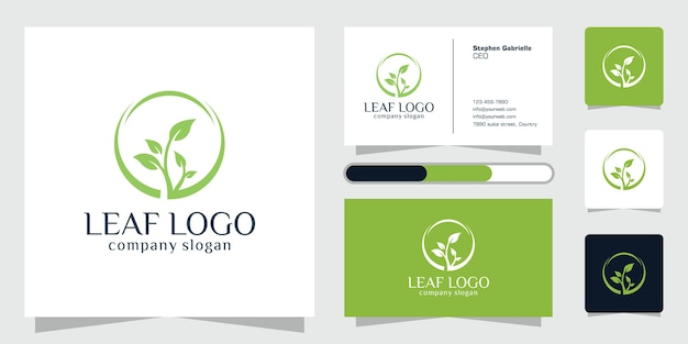 Green leaves logo plant nature eco garden stylized icon botanical and business card