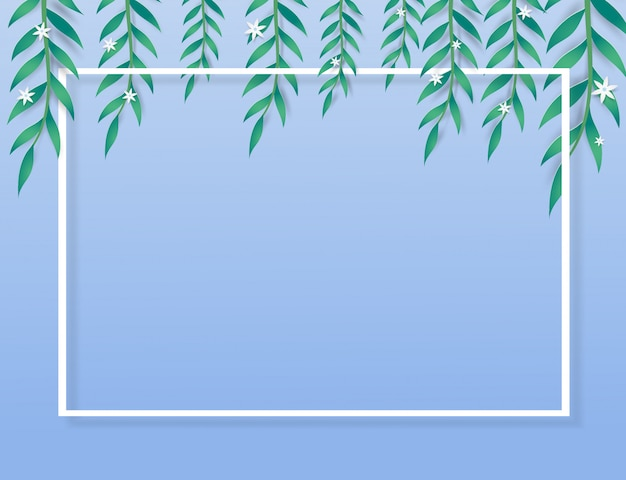 Green leaves ,mini flowers and frame on blue background.