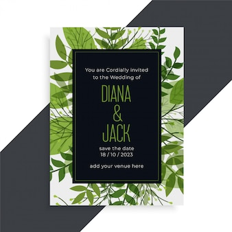 Green leaves nature style wedding card design