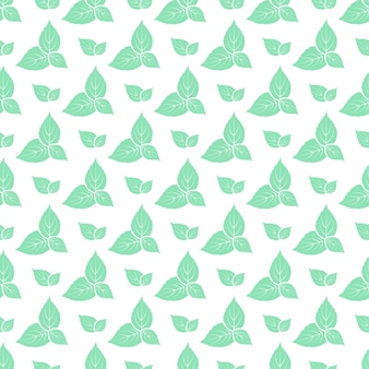 Зеленые листья свежей мяты бесшовные модели.