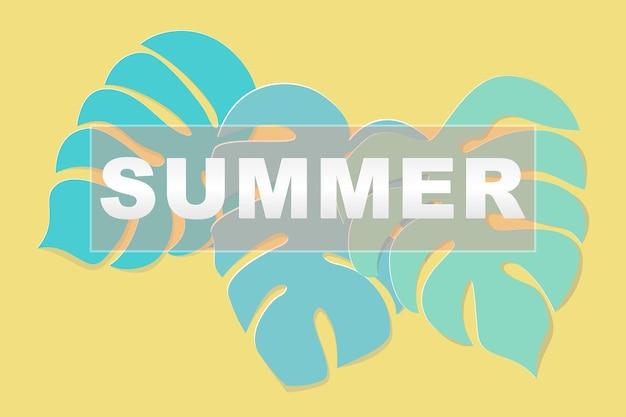 緑、夏の言葉と黄色の背景にペーパーアートスタイルを残す