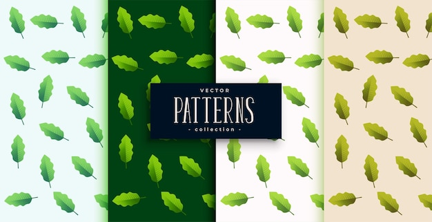 Green leaves pattern background set