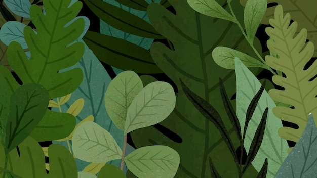 Green leaves patterned background Free Vector