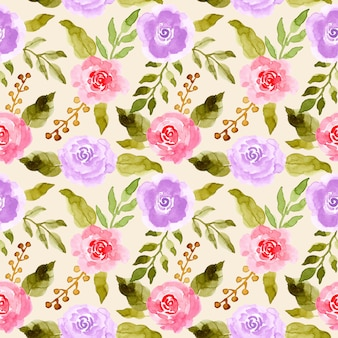 Green leaves pink purple flower watercolor pattern