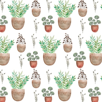 Green leaves on the pot watercolor pattern