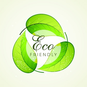 Green leaves in recycle symbol shape for eco friendly concept.