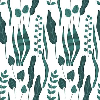 緑の葉のシームレスなパターン分離ベクトルイラスト植物の背景