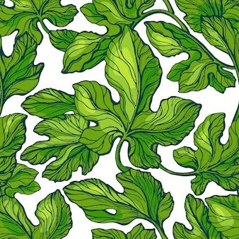 緑の葉のシームレスなパターン。テクスチャの葉。イチジクの木、森
