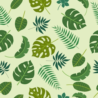 Green leaves tropics floral pattern
