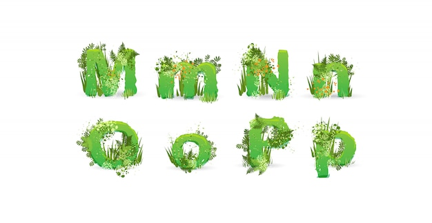 Green leaves vector alphabet. stylish abc with colorful tropical leaves, bushes, flowers and nature elements