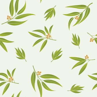 Green leaves vector seamless pattern realistic eucalyptus leaves or summer tropical branches