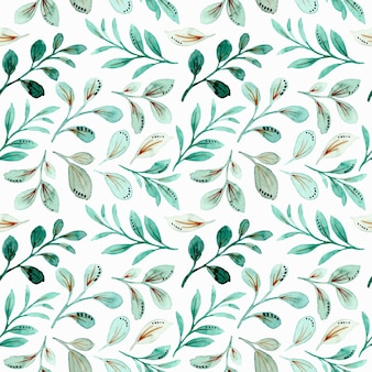 Green leaves watercolor seamless pattern