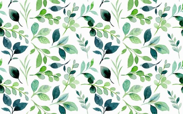 Зеленые листья акварель бесшовный фон