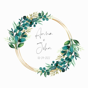 Green leaves watercolor wreath with golden frame
