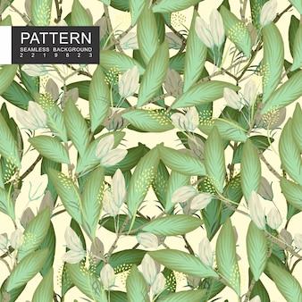 Зеленые листья с ветвями бесшовные цветочный узор