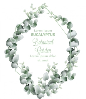 Green leaves wreath card watercolor