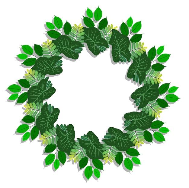 Green leaves wreath frame