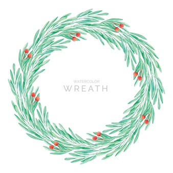 Green leaves wreath in watercolor style