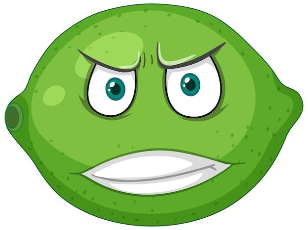 白い背景の上の怒っている顔の表情と緑のレモンの漫画のキャラクター