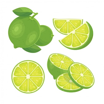 Green lemon fresh isolated