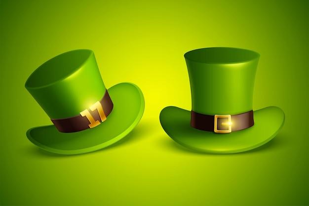 Green leprechaun hats set in 3d illustration