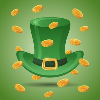 Green leprechaun's top hat with gold coins. st. patrick's day element