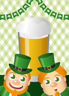 Green leprechauns with beer, happy st patricks day