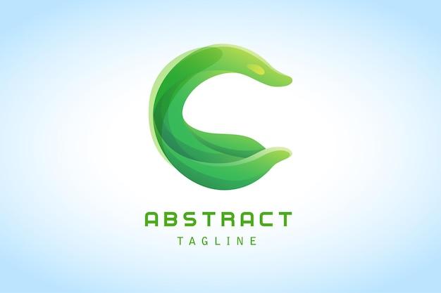 緑の文字c抽象的なグラデーションのロゴ