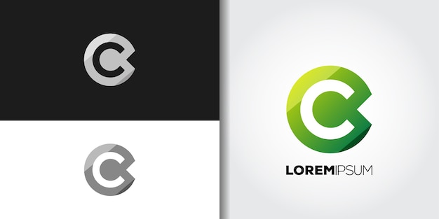 Green letter c logo set