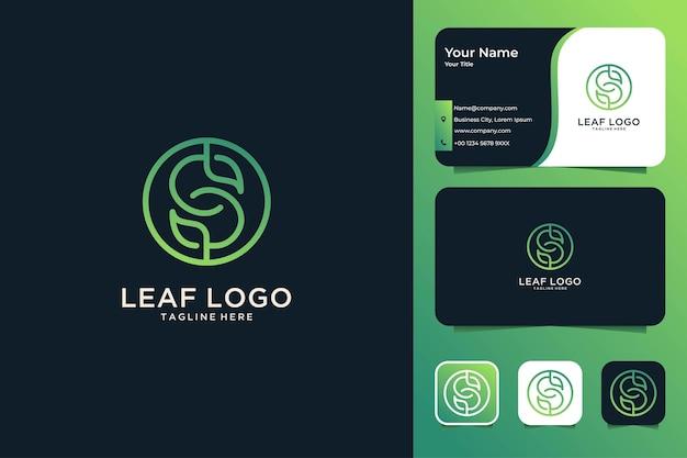 잎 로고 디자인 및 명함이 있는 녹색 문자 s