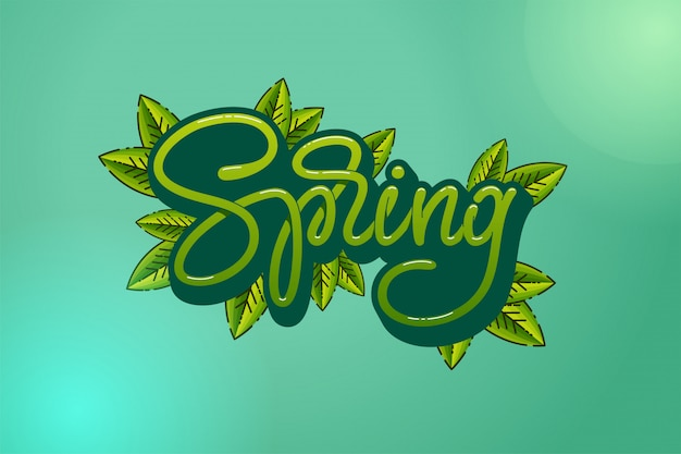 Green letters spring with leaves on turquoise background. typography hand sketched logotype, badge typography icon. lettering spring season for greeting card, invitation template.  illustration.