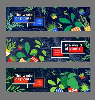 Набор макетов заголовка зеленой жизни. комнатные растения, домашние растения в горшках векторная иллюстрация с образцами текста