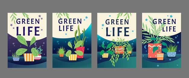 Набор дизайн плаката зеленая жизнь. комнатные растения, домашние растения в горшках векторная иллюстрация с образцами текста
