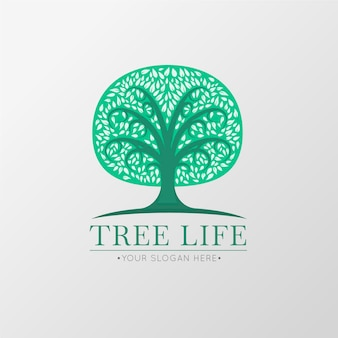 Green life tree logo symbol template