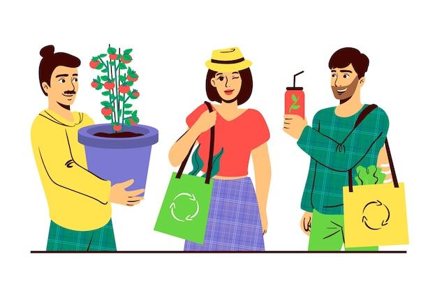 그림에 대한 녹색 라이프 스타일 문자 개념