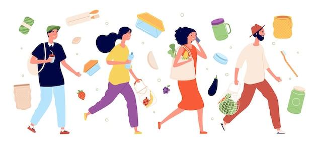 녹색 생활 양식. 자연 생태 식품, 지속 가능한 가방. 비건 음료를 가진 남자와 바이오 팩을 가진 여자. 벡터 에코 친화적 인 그림입니다. 라이프 스타일 녹색 식품, 천연 유기농 영양