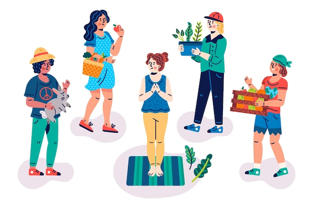 Green lifestyle people illustrated concept