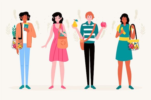 Green lifestyle people illustration