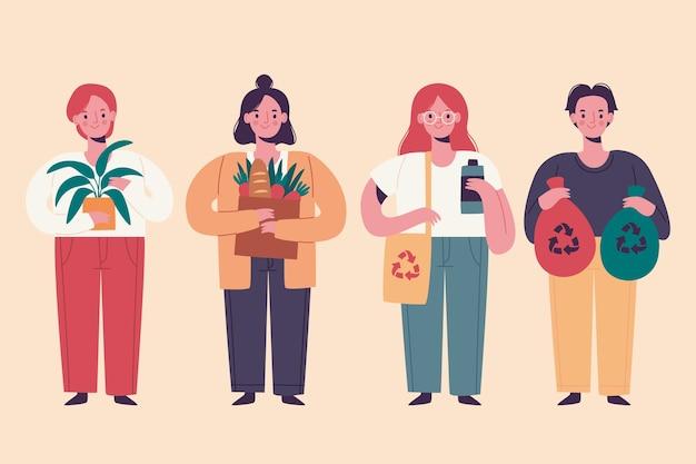 Illustrazione di persone stile di vita verde