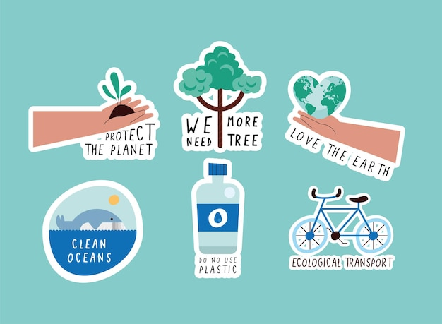 Green lifestyle set six icons