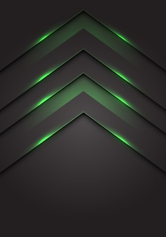 Green light 3d arrow direction dark grey blank space background.