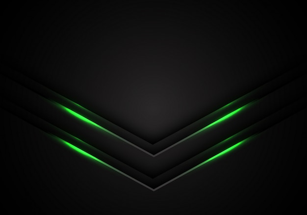 Green light arrow direction black blank space background.