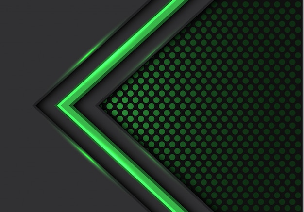 Green light arrow direction dark circle mesh background.