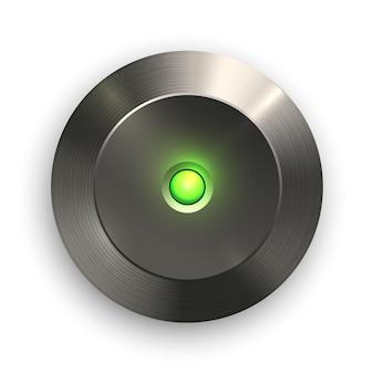Uiアプリケーションおよびアプリ用の緑色のライトボタンの金属テクスチャスチール鉄アルミニウムテクスチャ