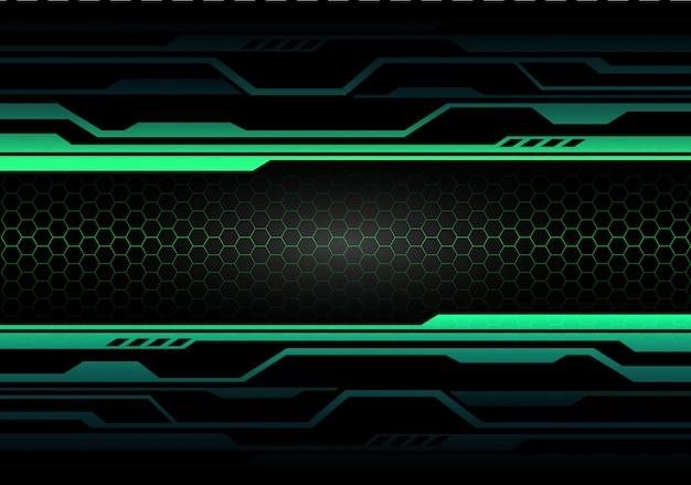 Green light circuit on black with hexagon mesh technology.