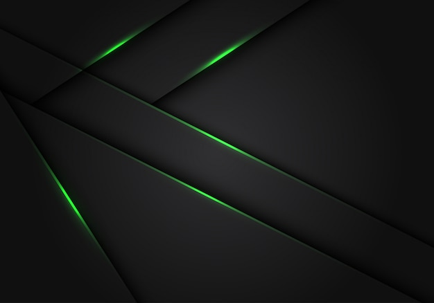 Green light dark grey metallic overlap futuristic background.