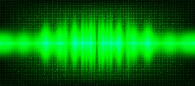 Green light digital sound wave background