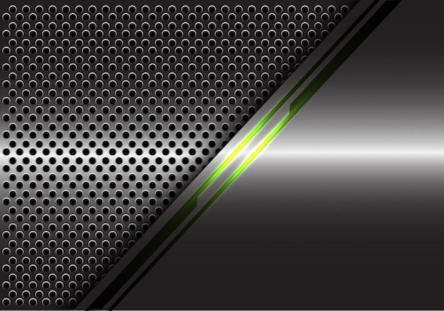 회색 금속 원형 메쉬 배경에 녹색 빛 라인 에너지.